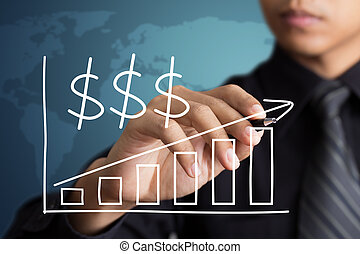 Businessman drawing a growth graph with dollar sign