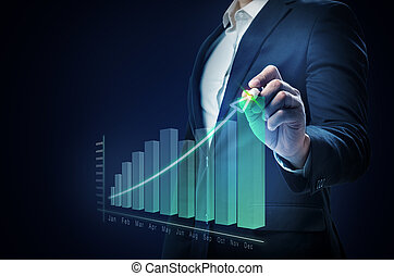 Businessman drawing a increases graph on virtual screen