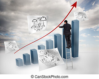 Businessman drawing a red arrow ove