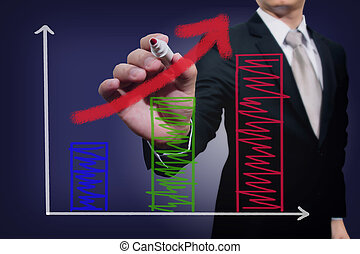 Businessman drawing a rising arrow over a bar graph