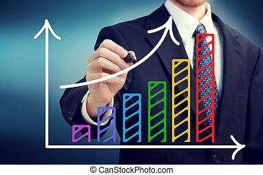Businessman drawing a rising arrow