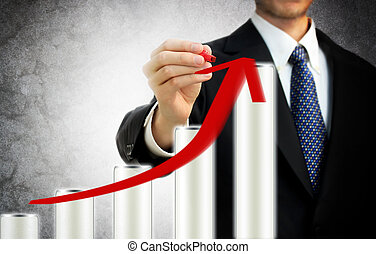 Businessman drawing a rising arrow on the top of bar graph representing growth