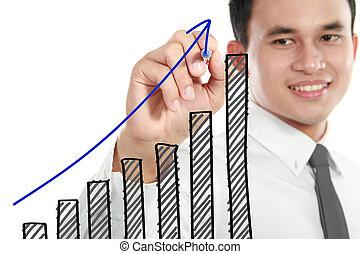 Businessman drawing a rising diagram