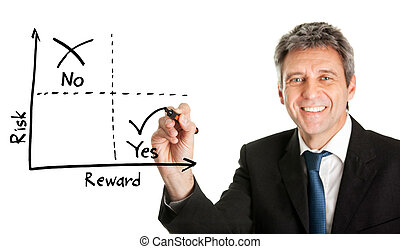 Businessman drawing a risk-reward diagram. Isolated on white