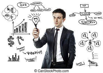 businessman drawing a virtual business plan