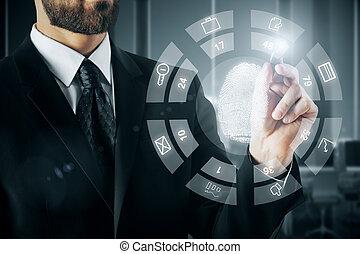 Biometrics concept - Businessman drawing abstract digital ...