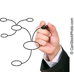 businessman drawing an organization chart
