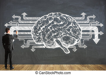 Businessman drawing brain on chalkboard wall