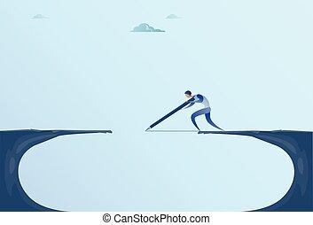Businessman Drawing Bridge Walking Over Cliff Gap Mountain Business Man Risk Concept