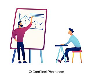 Businessman drawing business analysis chart and businessman at desk vector illustration.