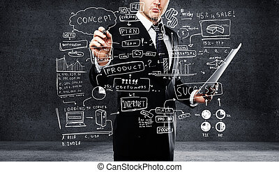 businessman drawing business concept