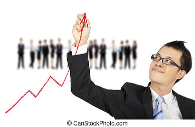 businessman drawing business graph by red chalk