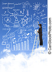 businessman drawing business plan on the sky