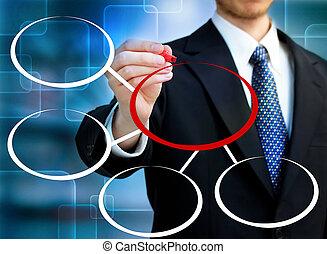 Businessman drawing circles
