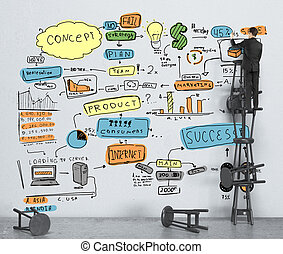 businessman drawing color business strategy on wall