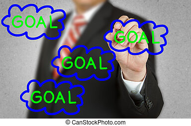 Businessman drawing concept of Goal