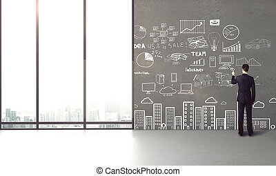 businessman drawing concept
