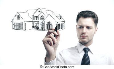 Businessman drawing cottage.