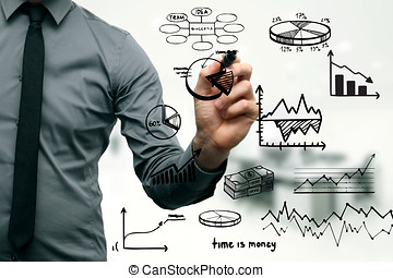 businessman drawing different graphs, charts and business elements