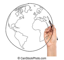 Businessman drawing earth in a whiteboard