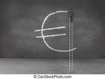 Businessman drawing euro symbol