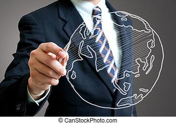 Businessman drawing Global