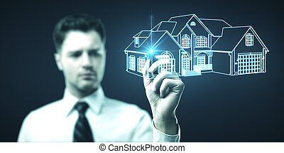 Businessman drawing glowing home.