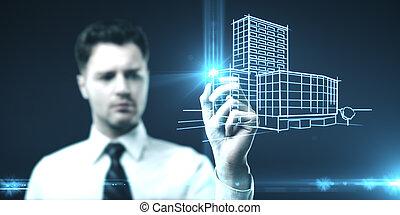 Businessman drawing glowing skyscraper.