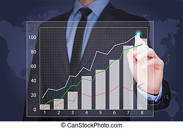 businessman drawing  graph, business strategy as concept