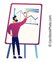 Businessman drawing growth chart on board vector illustration.