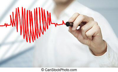 heart and chart heartbeat - businessman drawing heart and ...