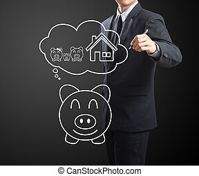 Businessman drawing Insurance conce