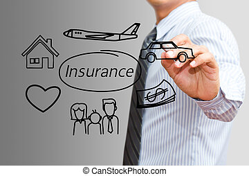 Businessman drawing Insurance concept (insurance, car, family)