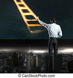 Businessman drawing ladder