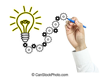 Businessman is drawing light bulb and gears with blue marker on transparent board isolated on white background.