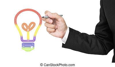 Businessman drawing light bulb
