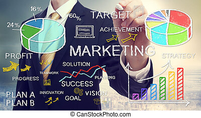 Businessman drawing marketing concepts - Businessman drawing...