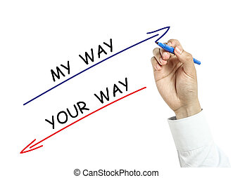 Businessman drawing my way and your way concept