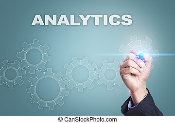 Businessman drawing on virtual screen. analytics concept