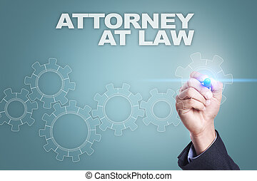 Businessman drawing on virtual screen. attorney at law concept