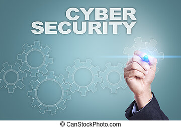 Businessman drawing on virtual screen. cyber security concept