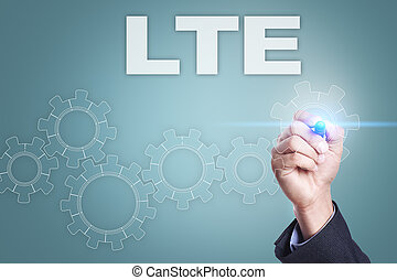 Businessman drawing on virtual screen. lte concept