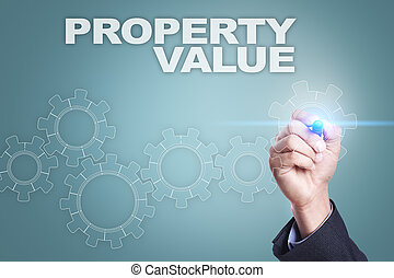 Businessman drawing on virtual screen. property value concept