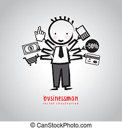 businessman drawing over gray background. vector illustration