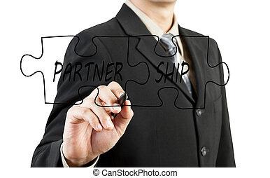Businessman drawing partnership puzzle pieces