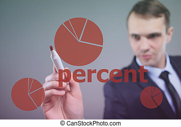 businessman drawing pie chart. percent.