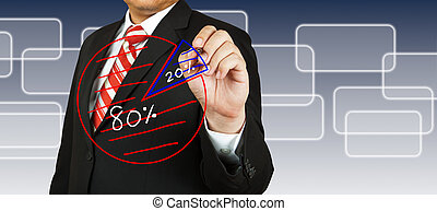 Businessman drawing pie chart with 80-20 concept
