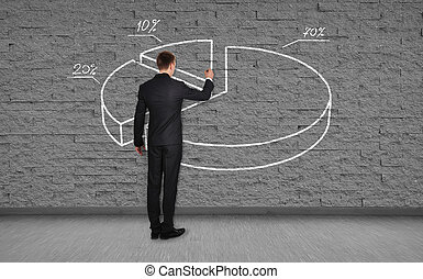 man drawing pie graph
