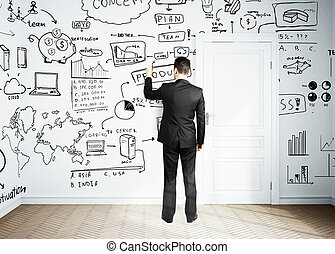 businessman drawing plan business