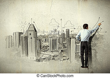 Businessman drawing sketch - Back view of businessman...